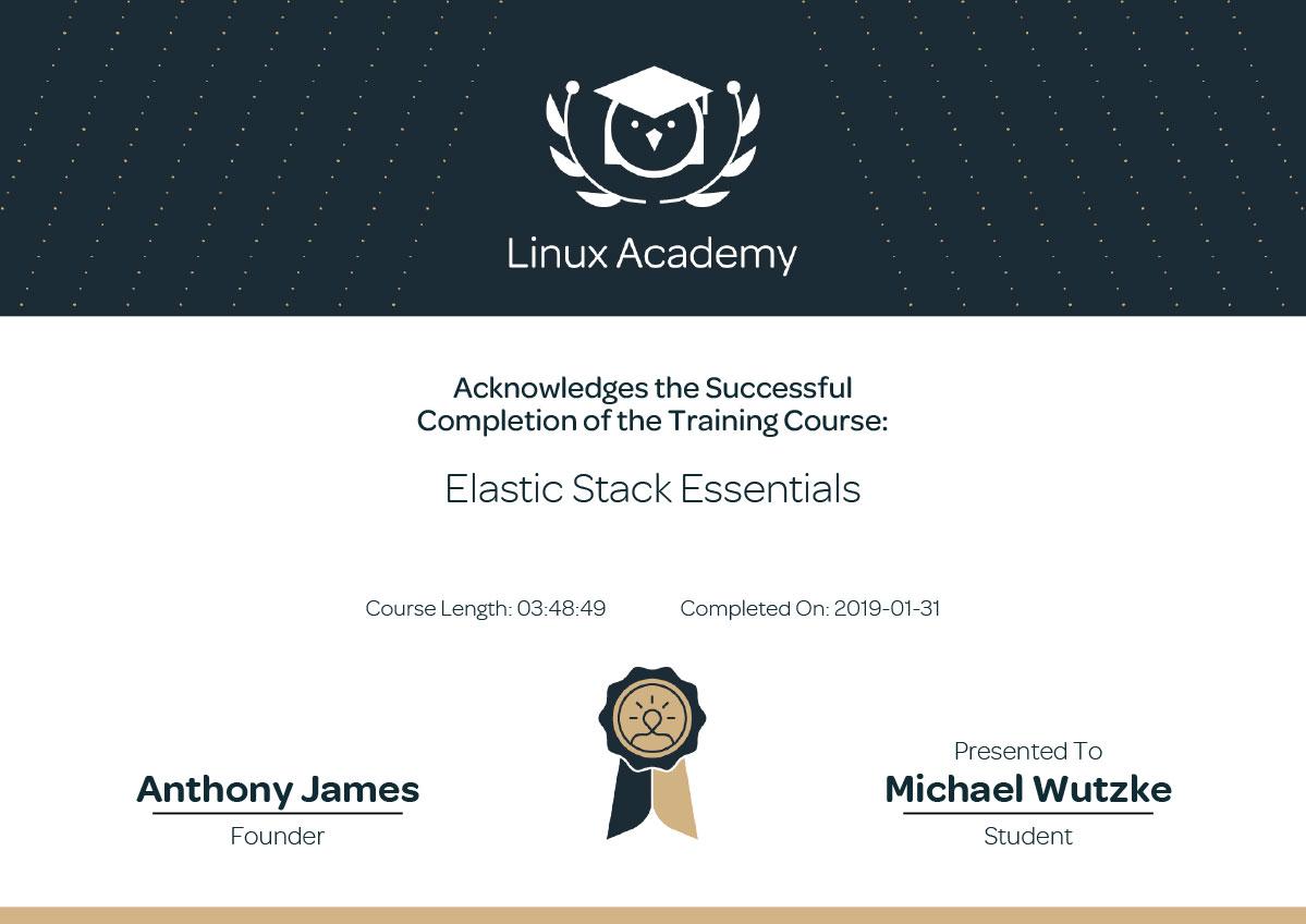 Elastissearch Dienstleister in Frankfurt - Michael Wutzke - Elastic Stack Essentials Training - Teilnahmezertifikat Schulung