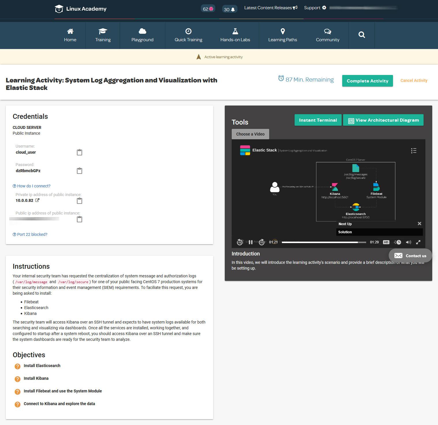 Screenshot - Handy-on Online-Fortbildung und Training über Elastis Stack