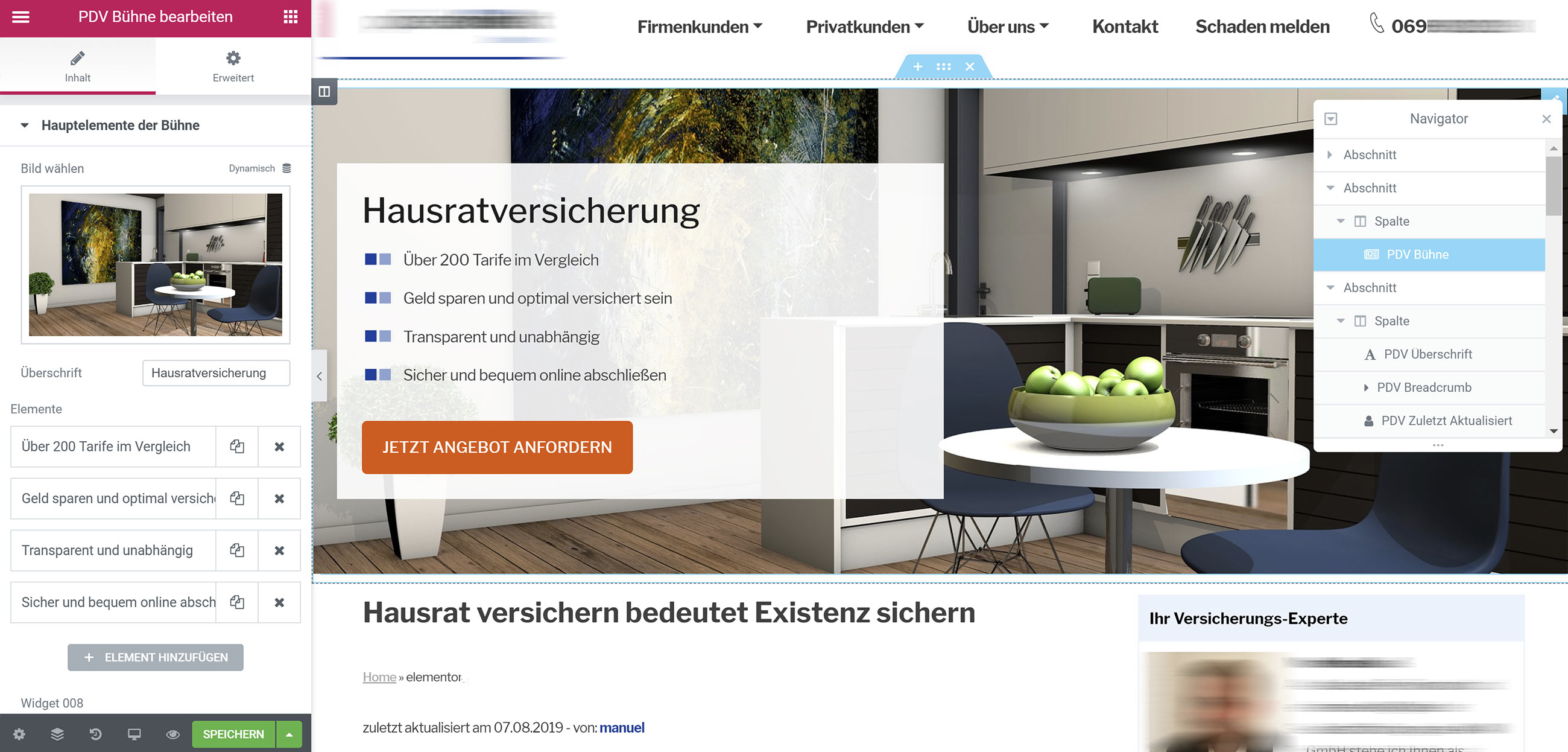 Elementor Widgets - WordPress als CMS - Screenshot - keine kaputten Webseiten mehr