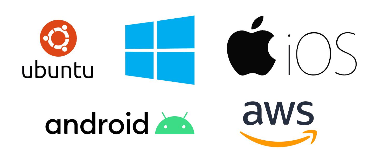 Plattformen und Betriebssysteme - Ubuntu - Windows - iOS - Android - AWS
